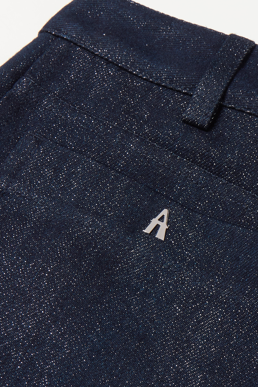 Alaïa Metallic cropped high-rise straight-leg jeans