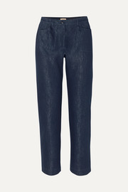 Alaïa Metallic cropped high-rise straight-leg jeans