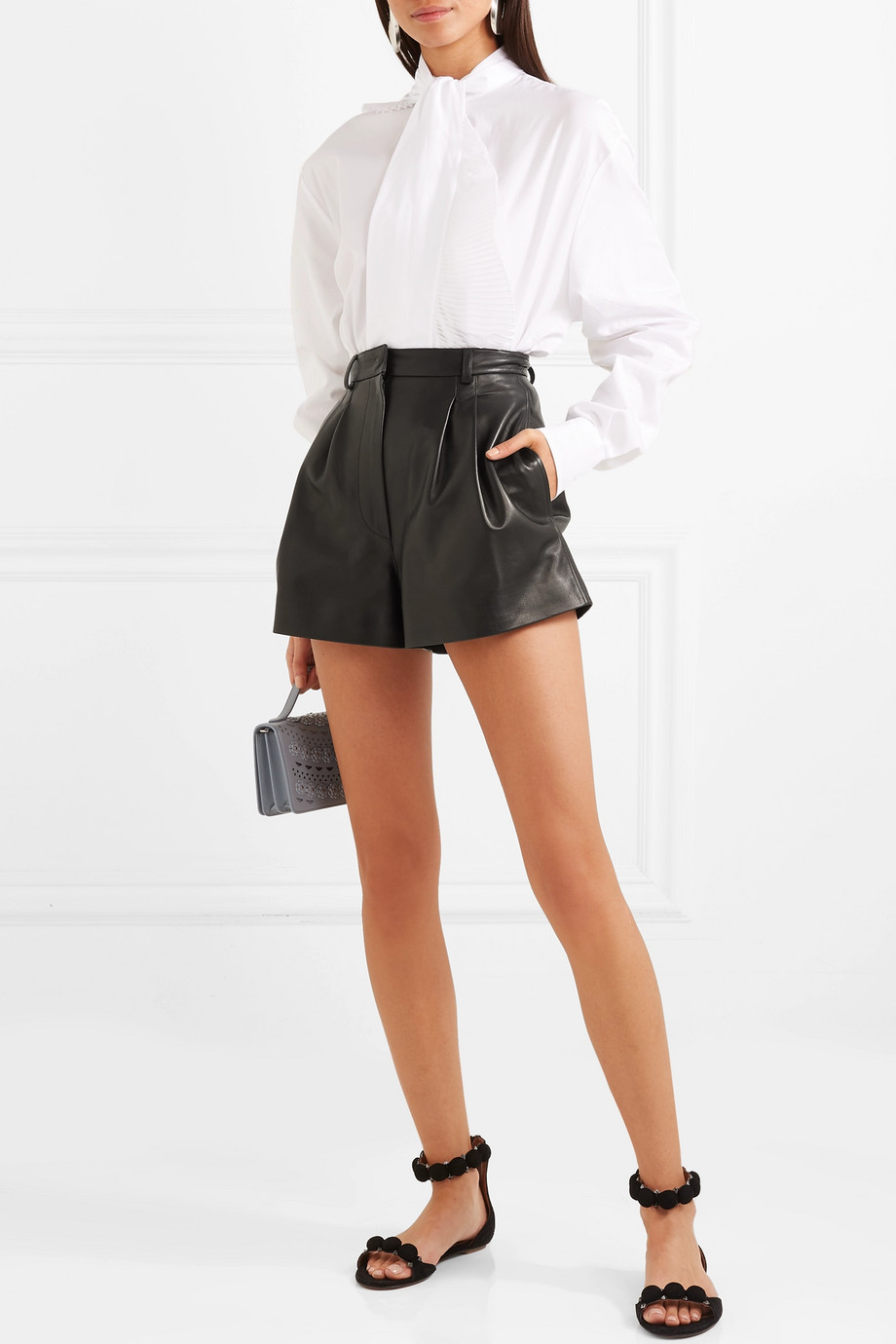 Alaïa Pleated leather shorts