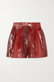 Alaïa Pleated python shorts