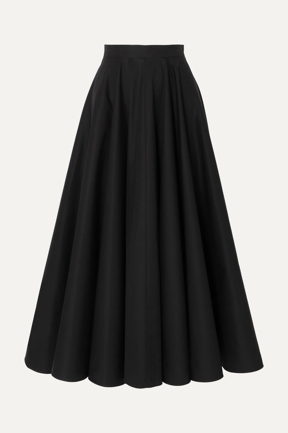 Alaïa Pleated cotton-twill midi skirt