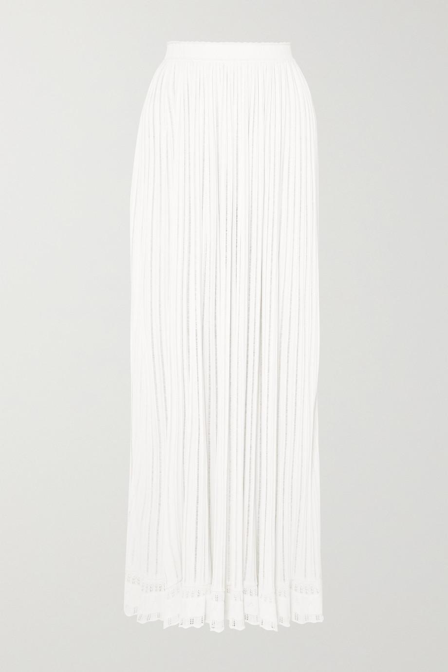 Alaïa Ribbed pleated knitted skirt
