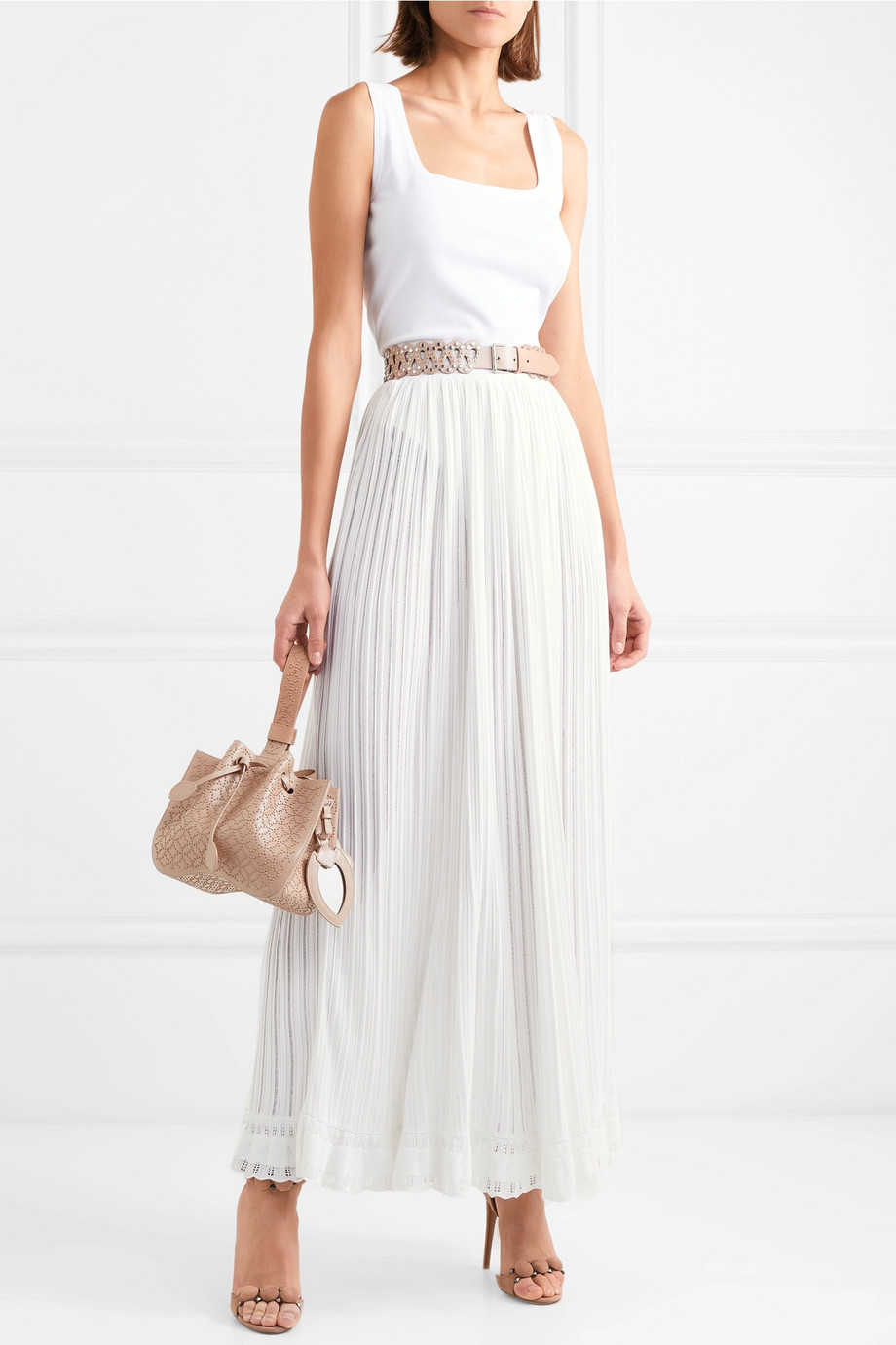 Alaïa 罗纹褶裥针织半身裙