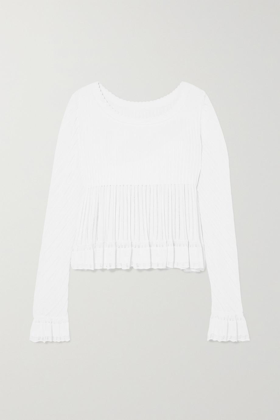 Alaïa Ruffled ribbed-knit top