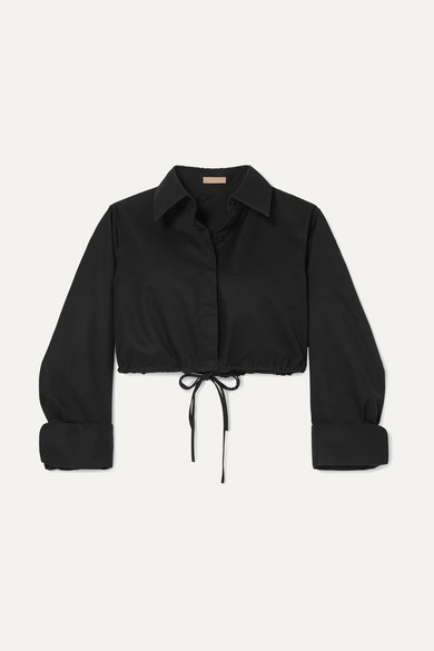 Cropped cotton-gabardine shirt