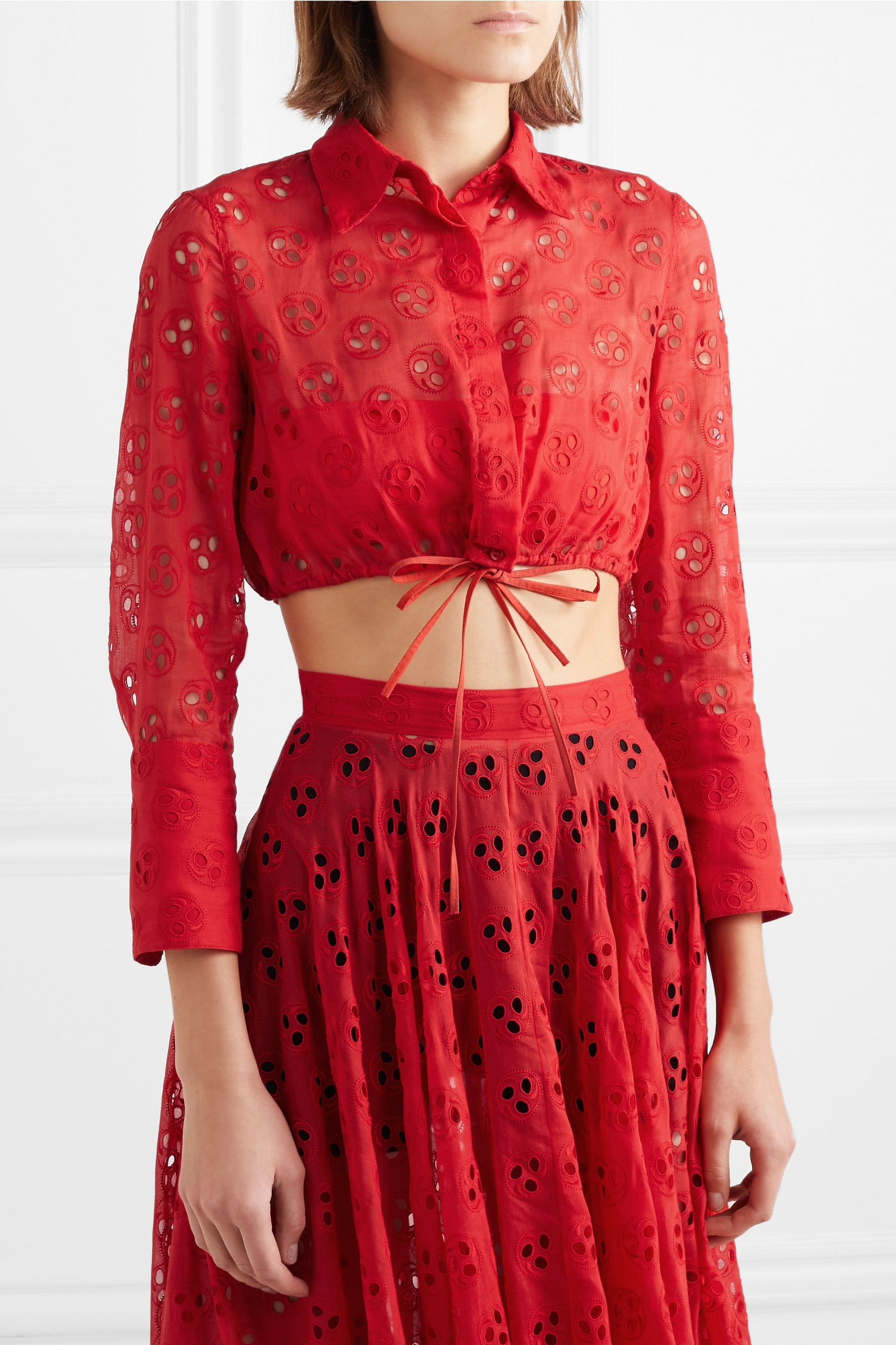 Alaïa Cropped broderie anglaise cotton top