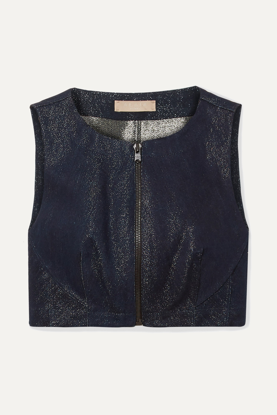 Alaïa Cropped metallic denim top