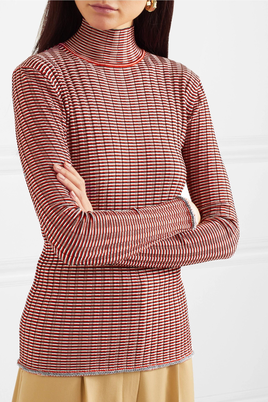 Victoria, Victoria Beckham Striped ribbed-knit turtleneck sweater