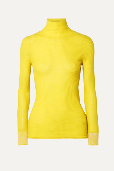 Ribbed Yellow Roll Neck