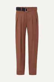 Belted pleated wool tapered pants