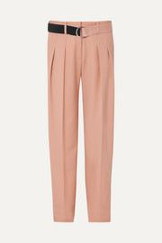 Belted pleated wool-cady tapered pants
