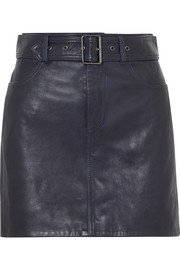 Belted leather mini skirt