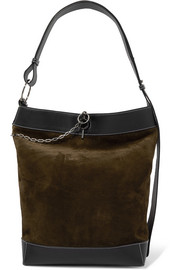 JW Anderson Lock leather-trimmed suede tote