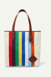 Belt leather-trimmed striped canvas tote