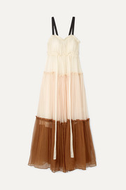 Celia grosgrain-trimmed ruffled silk-crepon maxi dress