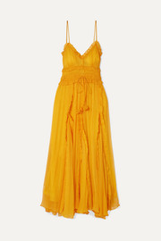 Lilla ruffled silk-crepon maxi dress