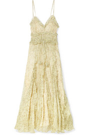 Nina ruffled silk-crepon maxi dress