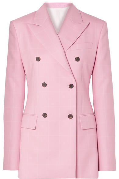Checked Wool Double-Breasted Blazer - Pink Size 38 It in Baby Pink