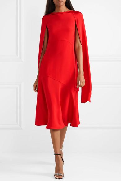 9c54b0861d4 CALVIN KLEIN 205W39NYC. Cape-effect silk-cady midi dress