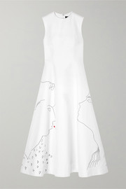 CALVIN KLEIN 205W39NYC + Andy Warhol Foundation embroidered cotton and silk-blend midi dress