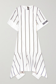 Asymmetric striped embroidered cotton-poplin dress