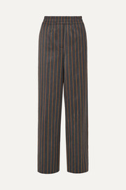 CALVIN KLEIN 205W39NYC Striped wool and cotton-blend wide-leg pants