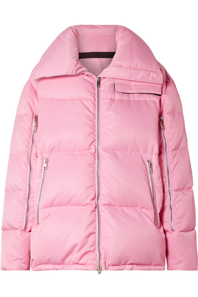 Oversized Quilted Shell Coat in Baby Pink