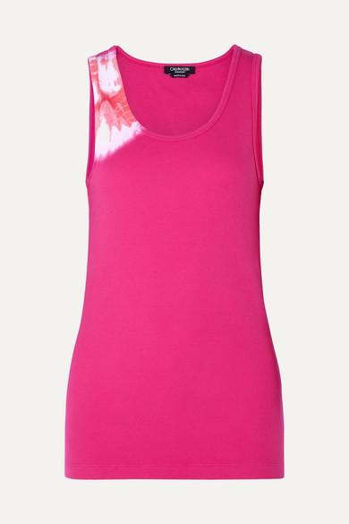 CALVIN KLEIN 205W39NYC | CALVIN KLEIN 205W39NYC - Tie-dyed Stretch-cotton Tank - Pink | Goxip