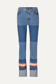 Appliquéd two-tone high-rise straight-leg jeans