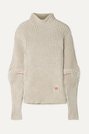 Embroidered ribbed wool turtleneck sweater