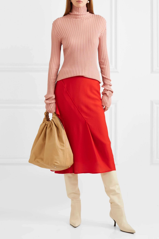 Victoria Beckham Ruffled silk crepe de chine midi skirt