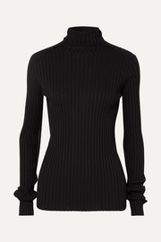 Victoria Beckham Ribbed stretch cotton-blend turtleneck sweater
