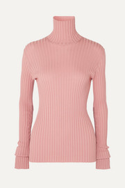 Ribbed stretch cotton-blend turtleneck sweater