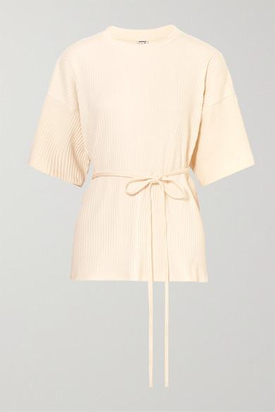 BASERANGE | Baserange - Shaw Wrap-effect Ribbed Organic Cotton-fleece T-shirt - Off-white | Goxip