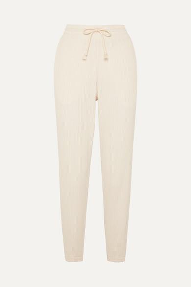 BASERANGE   Baserange - Ribbed Organic Cotton-fleece Track Pants - Off-white   Goxip