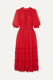 Crocheted lace-trimmed silk crepe de chine maxi dress
