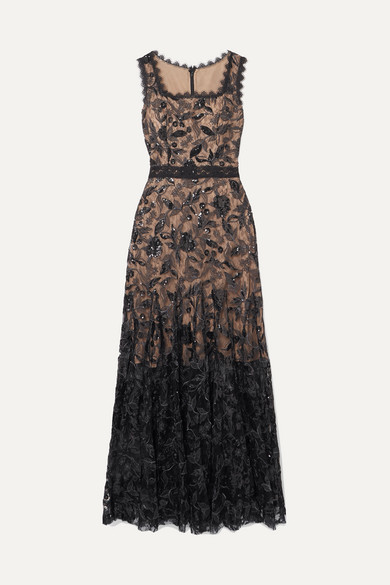 Sequin Embellished Silk Blend Tulle Gown by Costarellos