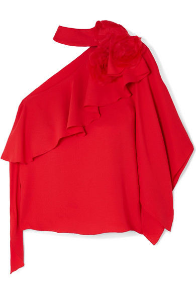 COSTARELLOS One-Shoulder Ruffled Crepe And Organza Top in Red