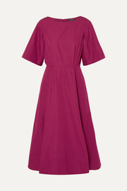 Cutout cotton-taffeta midi dress