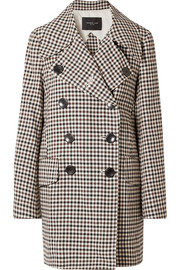 Double-breasted gingham woven coat