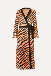 RIXO Gigi tiger-print sequined chiffon wrap dress