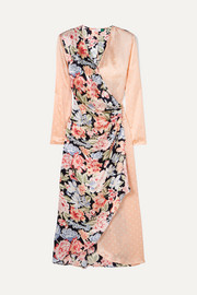RIXO Betty printed satin wrap midi dress