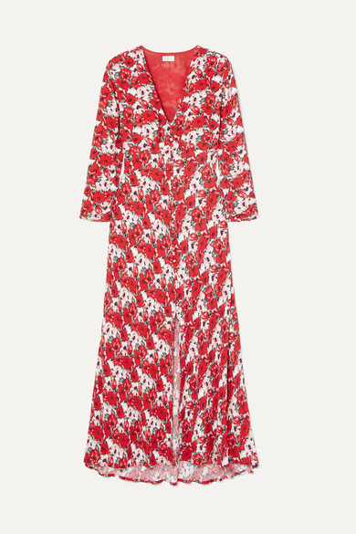 Katie Floral-Print Crepe De Chine Midi Dress in Red