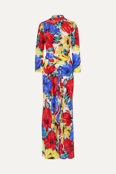 Lucy Open-Back Floral-Print Silk Crepe De Chine Dress in Blue