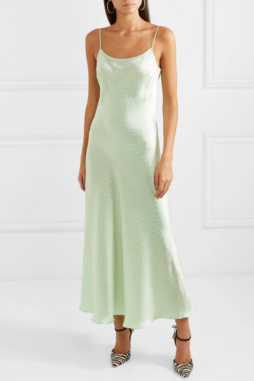 RIXO Holly Kleid aus Seiden-Charmeuse mit Jacquard-Polka-Dots