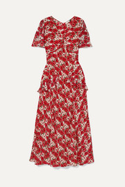 RIXO Evie ruffled floral-print silk crepe de chine dress