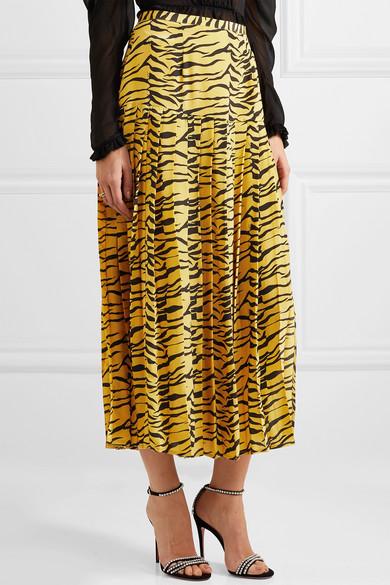 3921f226c3 RIXO | Tina pleated tiger-print silk crepe de chine skirt | NET-A ...