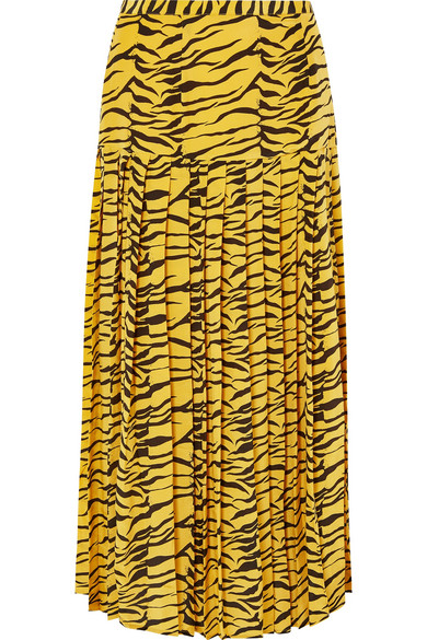 Tina Pleated Tiger-Print Silk Crepe De Chine Skirt in Zebra Print