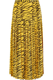 RIXO Tina pleated tiger-print silk crepe de chine skirt