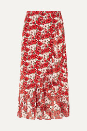 RIXO Gracie ruffled floral-print silk crepe de chine wrap skirt